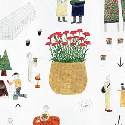『無印良品の「母の日の花」』 広告イラスト